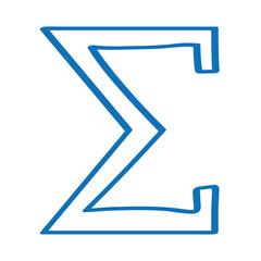 Handgezeichnetes Summe-Symbol in dunkelblau
