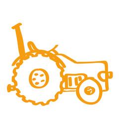 Handgezeichneter Traktor in orange