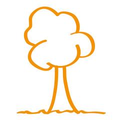 Handgezeichneter Baum in orange
