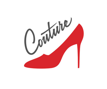 Couture logo design. Vector sign lettering with red shoe on hill. Logotype calligraphy