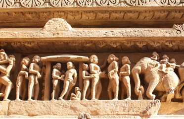 Famous human and animals sculptures at temple, Khajuraho, India
