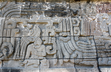 Bas-relief carving with of a american indian chieftain, Xochicalco, Mexico