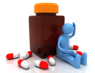 3D depressed man taking pills . 3d rendered illustration