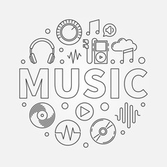MUSIC round vector illustration in thin line style