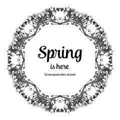 Spring is here card floral hand draw vector illustration