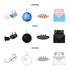 A video camera with smoke, a twirling holiday ball, a plate of sandwiches, an envelope with a greeting card. Event services set collection icons in cartoon,black,outline style vector symbol stock