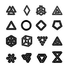 Set of impossible shapes. Optical Illusion. Vector Illustration isolated on white. Sacred geometry. White shapes on a black background.