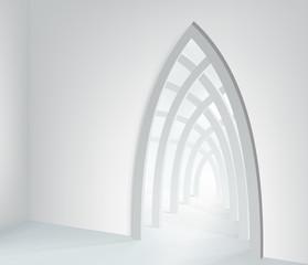 Illustration Ramadan Kareem. Islamic interior mosque with beam of light. Graphic concept for your design