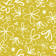 Fototapete - Seamless repeat pattern with flowers