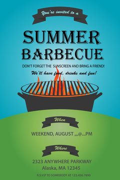 BBQ party invitation template. Summer Barbecue weekend flyer. Grill illustration with food sketches . Design template for menu, poster, announcement. Vector eps 10. Barbecue party vector flyer or post