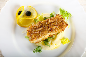 Cod fish with mashed potato