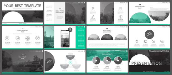 Set of green and gray, elements of infographics, white background. Materials, presentations. Slide set. Use business presentations, corporate reports, marketing, advertising, anniversaries, booklets,