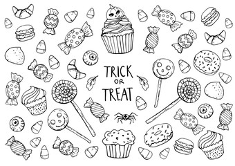 coloring page with sweets, halloween Wall mural