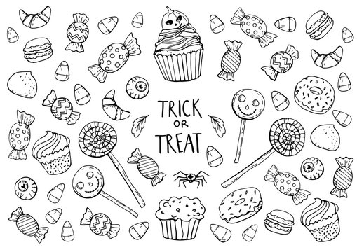 coloring page with sweets, halloween
