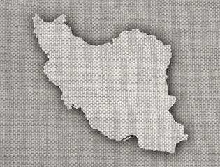 Karte des Iran auf altem Leinen