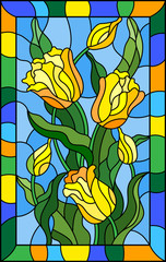 Illustration in stained glass style with a bouquet of yellow tulips on a blue background in bright frame