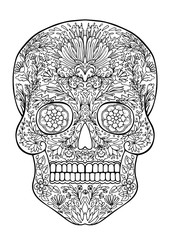 decorated with flowers skull coloring page