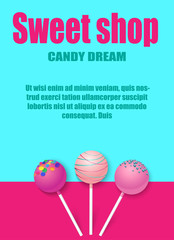 Sweet shop. Blue and pink background with cute lollipops.