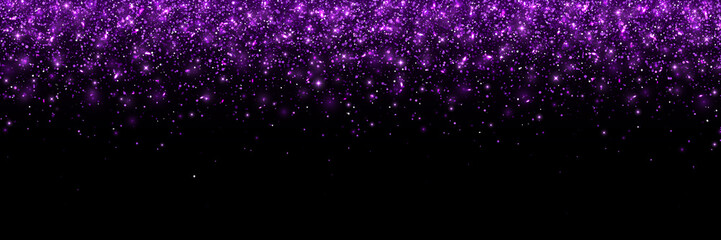 Purple glittering particles on black background, wide banner. Vector