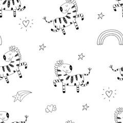 Cartoon zebra Seamless pattern