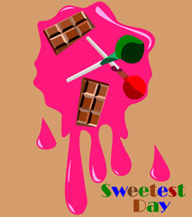 Drawing of sweets on the background of chewing gum to the day of sweets