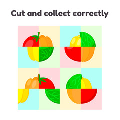 vector illustration. puzzle game for preschool and school age children. cut and collect correctly. vegetables, pepper, cabbage, tomato, pumpkin