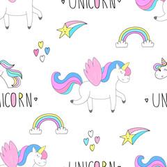Cute seamless pattern with cute unicorn