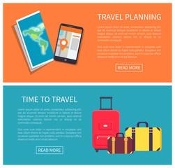 Travel Planning Web Pages Set Vector Illustration