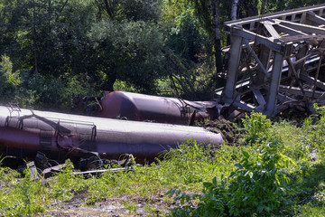 A freight train carrying oil products derailed after a viaduct collapsed under its weight in Carcea