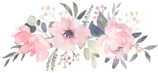 Bouquet composition decorated with dusty pink watercolor flowers and eucalyptus greenery Wall mural