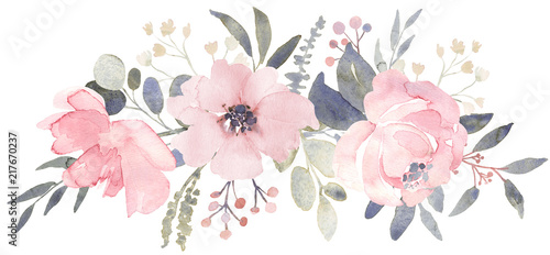 Wall mural Bouquet composition decorated with dusty pink watercolor flowers and eucalyptus greenery