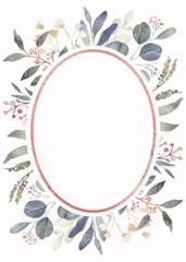Wall Mural - Frame composition decorated with Dusty pink watercolor flowers, eucalyptus greenery and rose gold