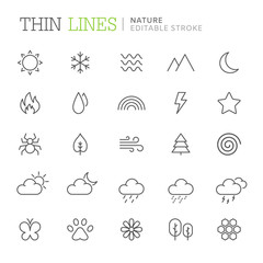 Collection of nature related line icons. Editable stroke