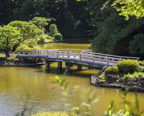 Upper Pond's zigzag shaped bridge and the pine and maple forests of the traditional Japanese garden of Gyoen Park under a blazing sun in early summer.