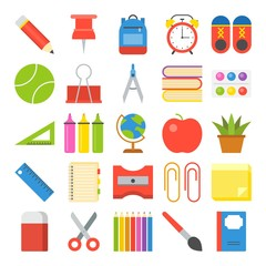 school supplies icon set in flat design for back to school theme