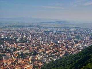 Cityscape of Brasov, Romania, as seen from the Tampa Mountain