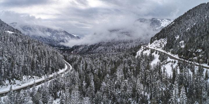 Wilderness Adventure Mountain Highway Snowy Aerial Background