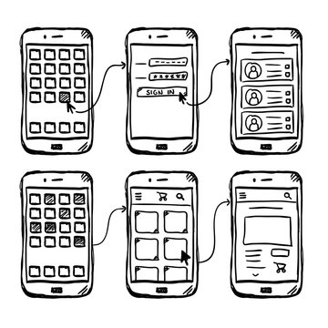 UI mobile app wireframe doodle