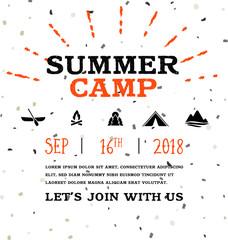 Summer Camp banner vector illustration