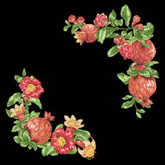 Corner frame decorative vector element with pomegranate fruits and flowers