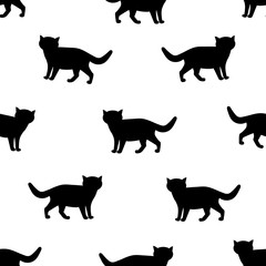 Seamless patterns with silhouettes of the black cat.