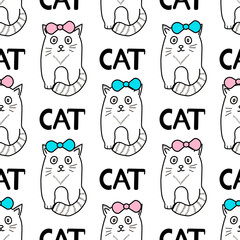 Seamless patterns with cats and bows.