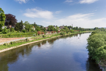 Weser river and historic city Hoxter, Germany