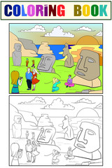 Easter Island excursions coloring, color, black and white raster