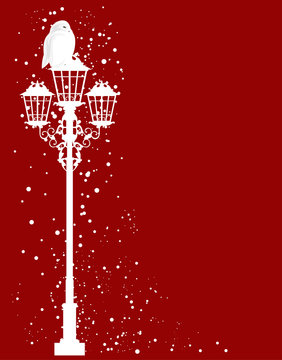christmas theme vector silhouette design - white snowy owl on streetlight under falling snow