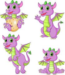 Cartoon dragons collection set