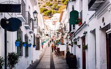 Charming whitewashed street of Mijas village. Costa del Sol. Spain