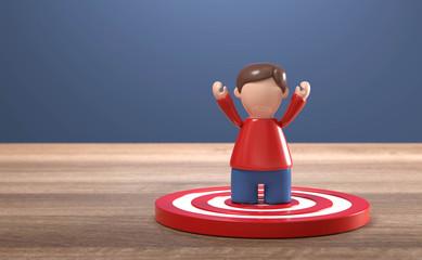 3D Figur Ziel erreicht