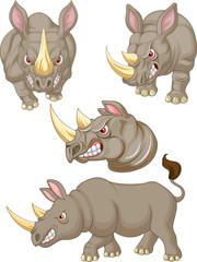 Cartoon angry rhino collection set