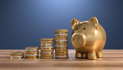 3D goldenes Sparschwein mit Geldmünzen